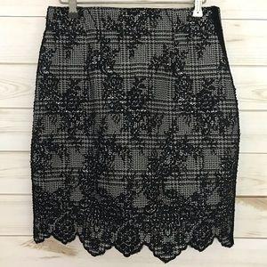 Zara Black/White houndstooth & floral skirt, Small